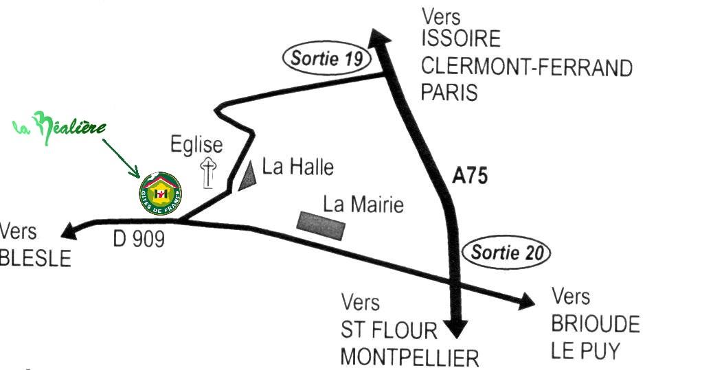 Plan d'accès depuis l'A75 des chambres d'hôtes La Béalière